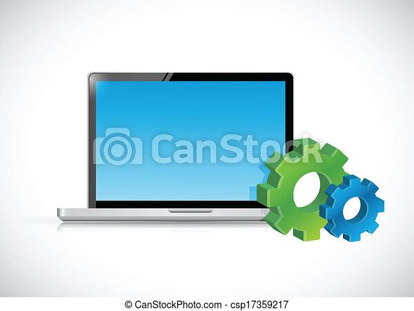 Computadora portátil y iconos de engranaje. Ilustración - csp17359217