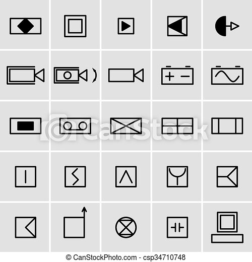 Electrical circuit symbols on white background (helpful for basic ...