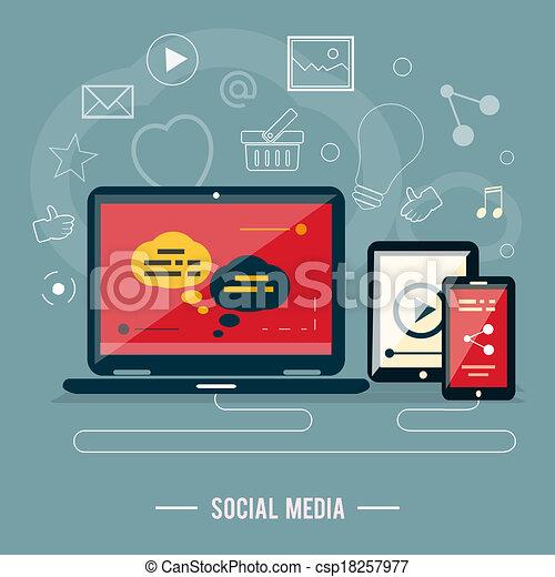 Icons for web design, seo, social media - csp18257977