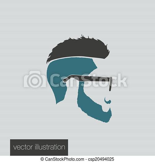 icons hairstyles beard  - csp20494025