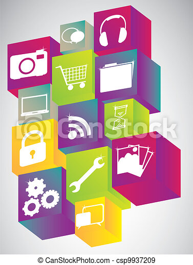 Icons in colorful cubes - csp9937209