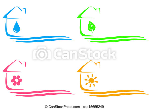 icons of eco house and heating - csp15655249
