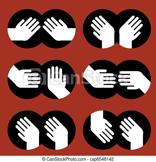 icons of human hands of various gestures - csp6548142