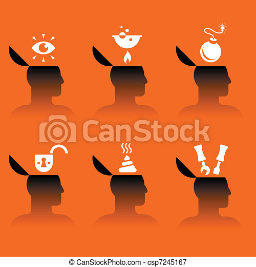 icons of human head with various objects - csp7245167