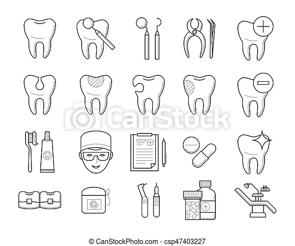 Icons Of Tooth Dental Equipment Stock Illustration