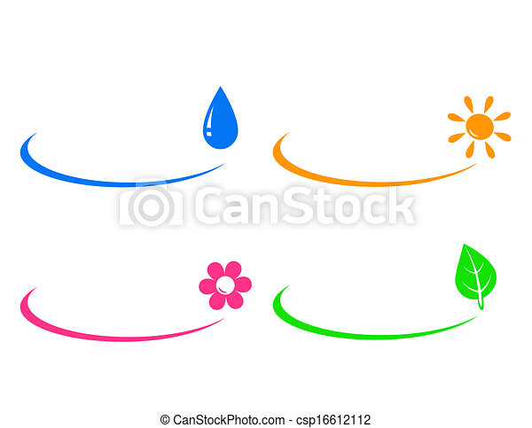 icons of water drop, sun, flower an - csp16612112