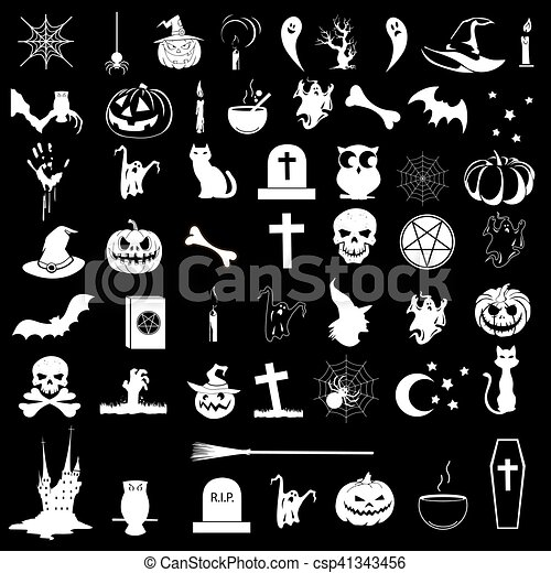 Halloween Vector Black And White.Icons On The Theme Of Halloween