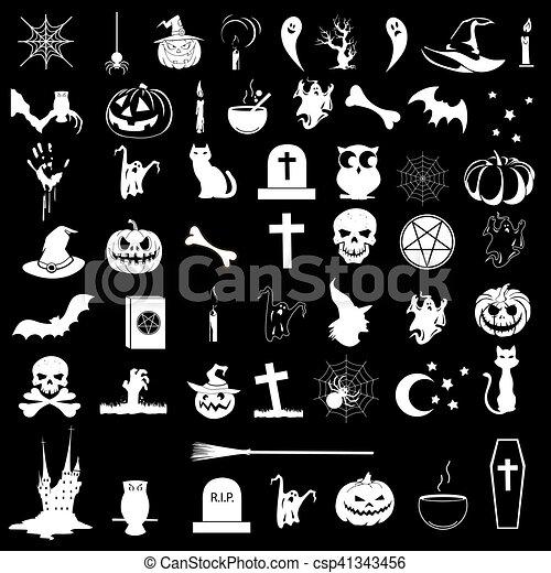 Icons on the theme of Halloween - csp41343456