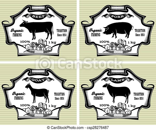 icons pig, cow, sheep, goat - csp28276487