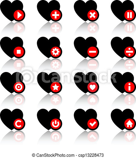 Icons set - black hearts and red buttons - csp13228473