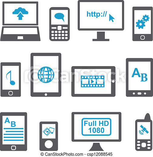Icons set computers and mobile devices - csp12088545