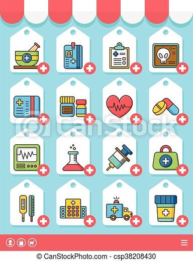 icons set hospital vector - csp38208430
