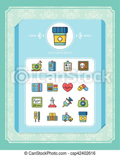 icons set hospital vector - csp42402616