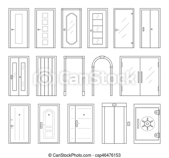 Icons Set Of Doors Types.   Csp46476153