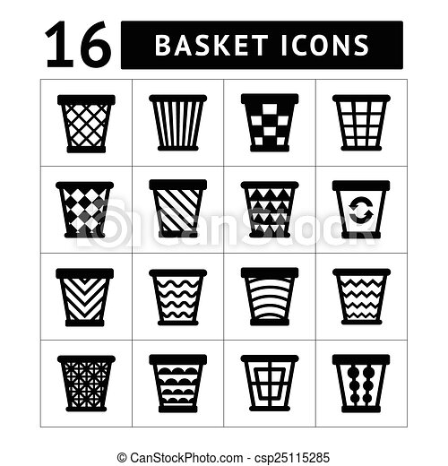 Icons set of trash basket. Garbage can for recycle - csp25115285