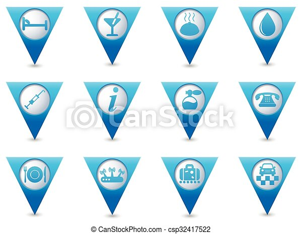 Icons set on blue map pointers - csp32417522