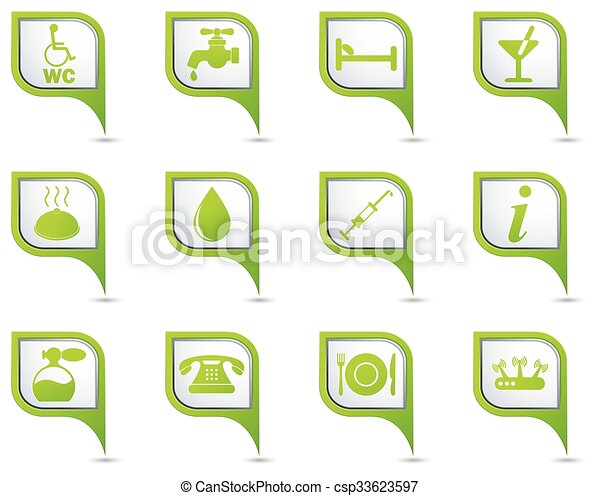 Icons set on green map pointer - csp33623597
