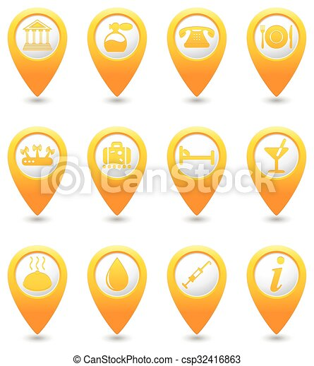 Icons set on yellow map pins - csp32416863