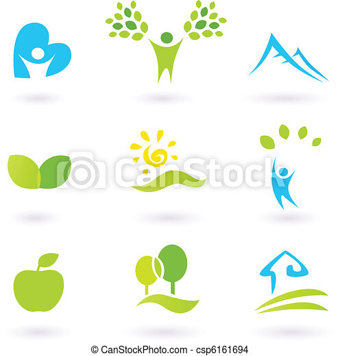 Icons set or graphic elements inspired by nature and life. Landscape, hills, people, leaves and organic living. Vector Illustration.