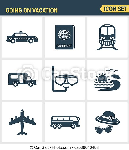 Icons Set Premium Quality Of Going Vacation Icon Summer Holiday Tourism Tour Vector Modern