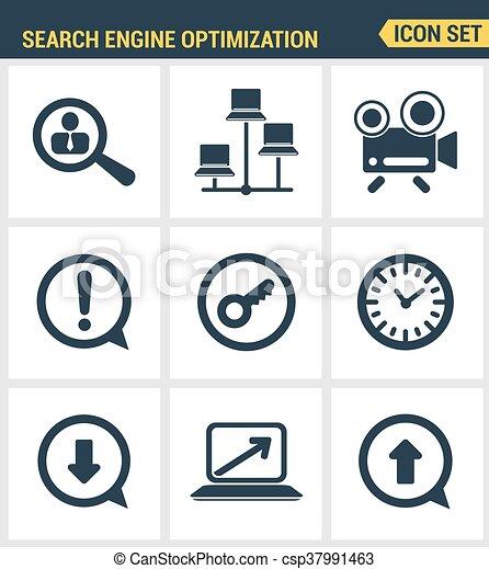 Icons Set Premium Quality Of Search Engine Optimization Clip Art