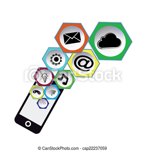 icons social mobil - csp22237059