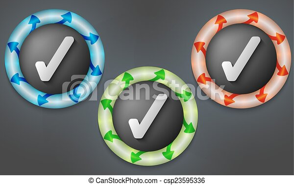 icons with color back light and check box - csp23595336
