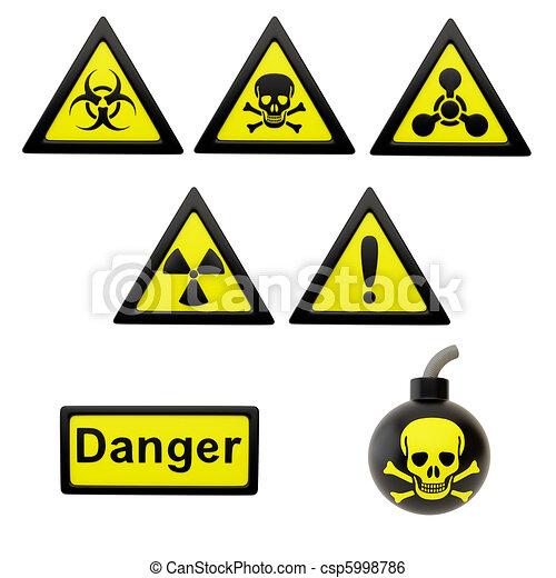 Icons With Symbols Of Hazard Icon Depicting The Hazard Symbols On A