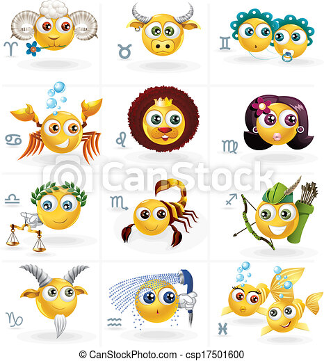 Signos zodiacos, cifras de iconos/smiley - csp17501600