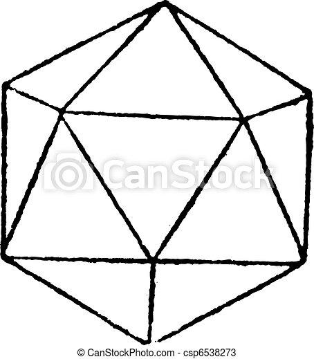 icosahedron, 型, レギュラー, 彫版 - csp6538273