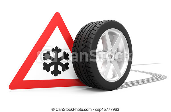 Icy Conditions Packed Snow Traffic Sign With Winter Symbol Car