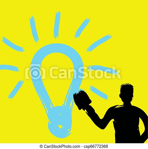 idé, slag, borsta, struktur, begrepp, skapande, måla, entreprenör, uppfinningsrik, oavgjord, stor hand, nyskapande, kreativitet, tänkare, inspiration, man, lätt, lysande, fantasi, idé, lök - csp66772368