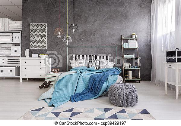 idée, blanc, spacieux, gris, chambre à coucher