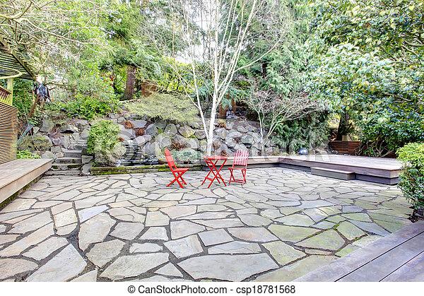 idée, yard postérieur, conception, landscaping - csp18781568