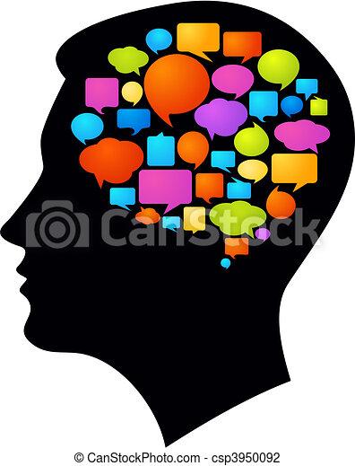 Ideias Pensamentos Perfil Coloridos Muitos Pensamento Pretas