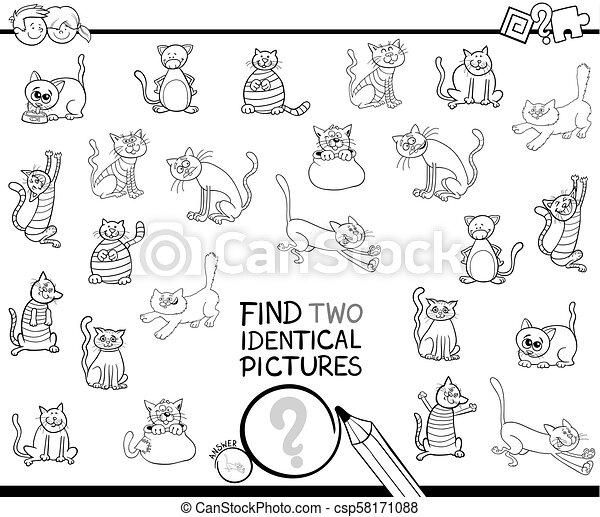idêntico, coloração, quadros, dois, gato, livro, achar - csp58171088