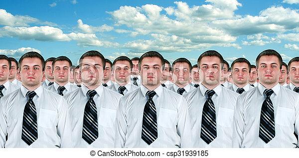 idêntico, muitos, clones, homens negócios - csp31939185