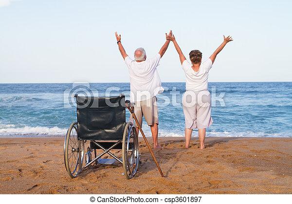 idősebb ember, betegség, párosít, szabad - csp3601897