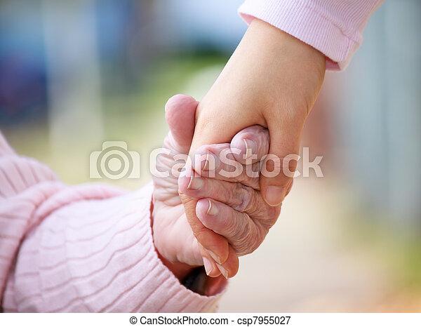 idősebb ember, fiatal, hatalom kezezés - csp7955027