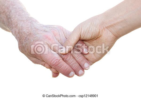 idősebb ember, fiatal, hatalom kezezés - csp12148901