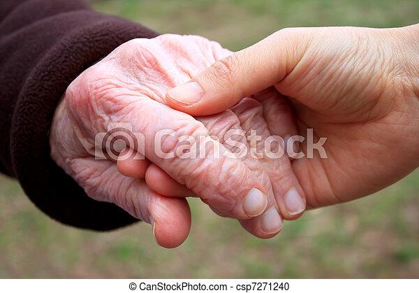 idősebb ember, fiatal, hatalom kezezés - csp7271240