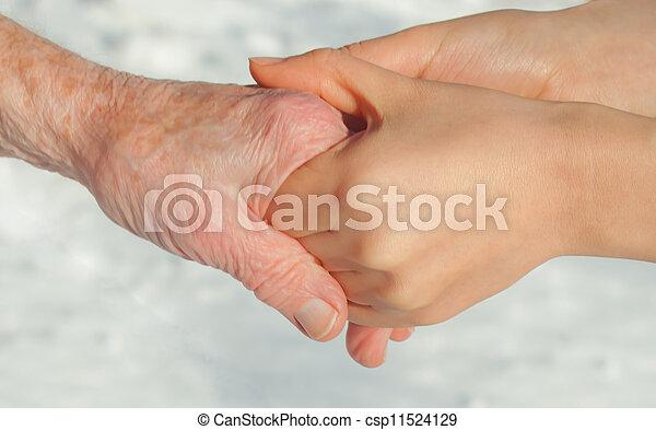 idősebb ember, fiatal, hatalom kezezés - csp11524129