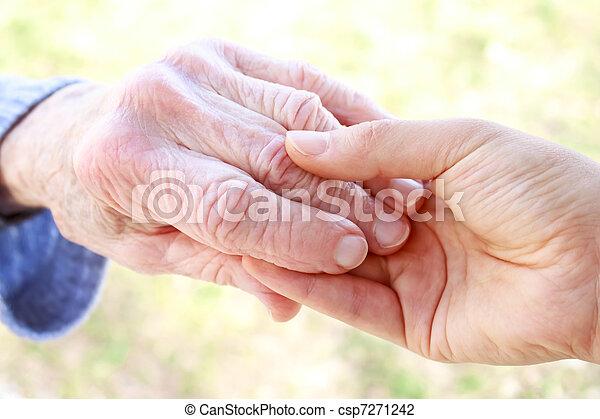 idősebb ember, fiatal, hatalom kezezés - csp7271242