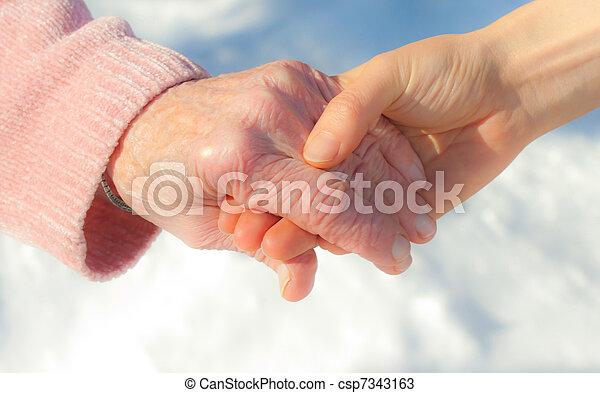 idősebb ember, fiatal, hatalom kezezés - csp7343163