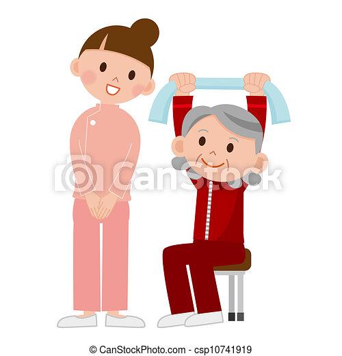 idősebb ember, gyakorlás - csp10741919