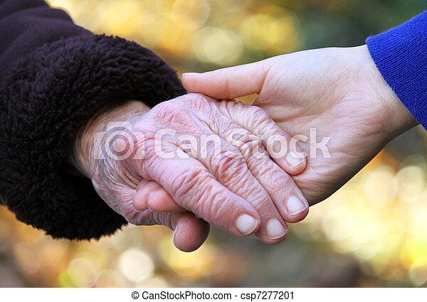 idősebb ember, hads, fiatal, birtok, nők - csp7277201