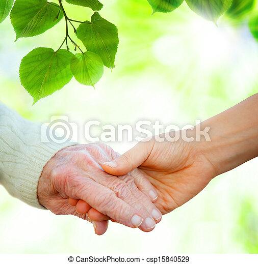 idősebb ember, hatalom kezezés - csp15840529