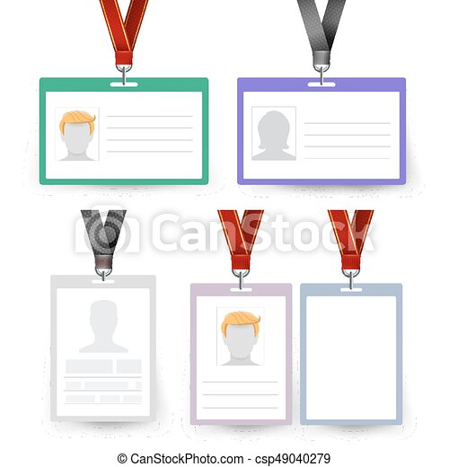 id badge set vector name tag employee card white blank plastic id