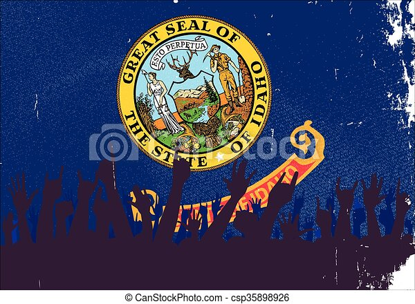 Idaho State Flag with Audience - csp35898926