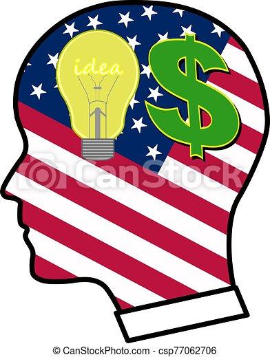 Idea bulb and dollar sign. - csp77062706